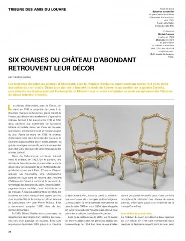 Six chaises du château d'Abondant retrouvent leur décor