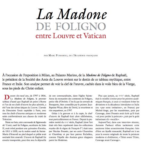 La Madone de Foligno, entre Louvre et Vatican