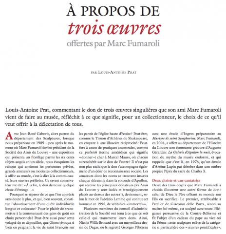 A propos de trois oeuvres offertes par Marc Fumaroli
