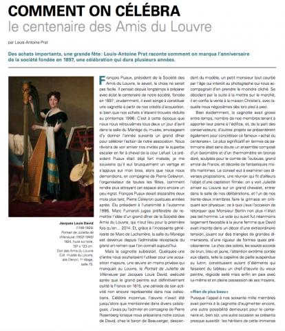 Comment on célébra le centenaire des Amis du Louvre