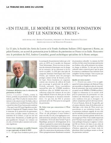 En Italie, le modèle de notre fondation est le National Trust