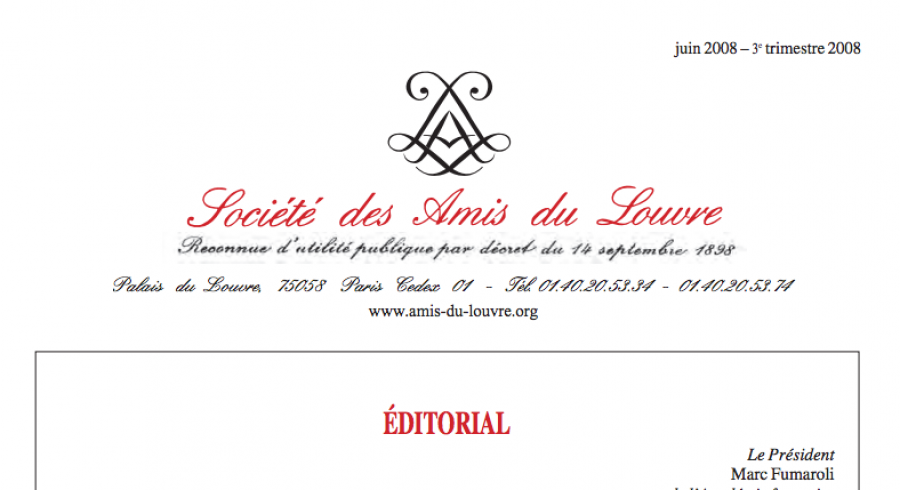 Bulletin trimestriel des Amis du Louvre du 3ème trimestre 2008
