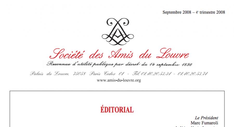 Bulletin trimestriel des Amis du Louvre du 4ème trimestre 2008