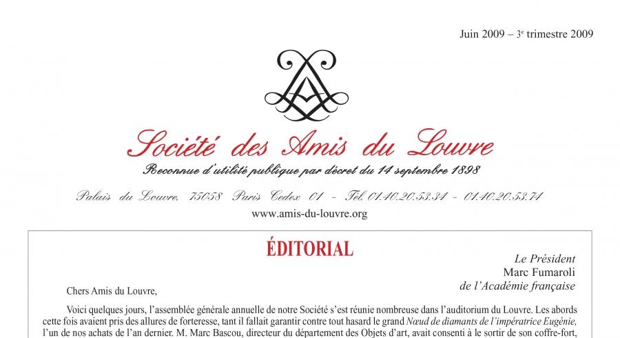Bulletin trimestriel des Amis du Louvre du 3ème trimestre 2009