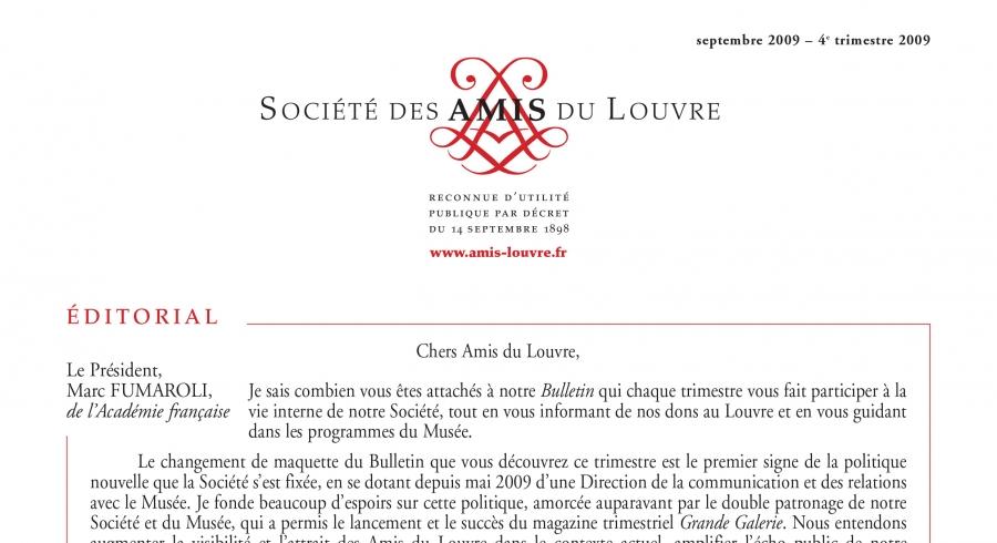 Bulletin trimestriel des Amis du Louvre du 4ème trimestre 2009
