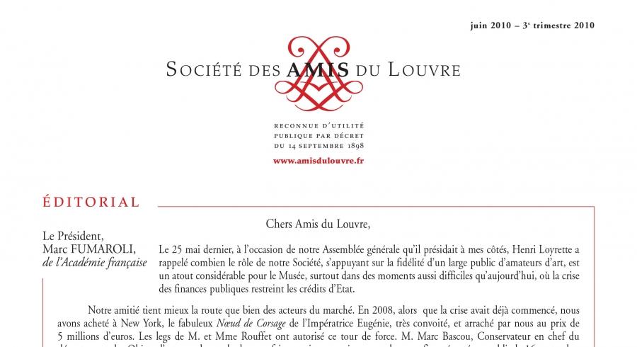Bulletin trimestriel des Amis du Louvre du 3ème trimestre 2010