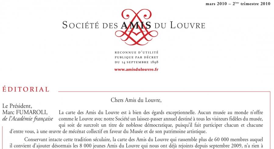 Bulletin trimestriel des Amis du Louvre du 2ème trimestre 2010