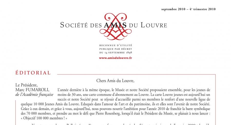 Bulletin trimestriel des Amis du Louvre du 4ème trimestre 2010