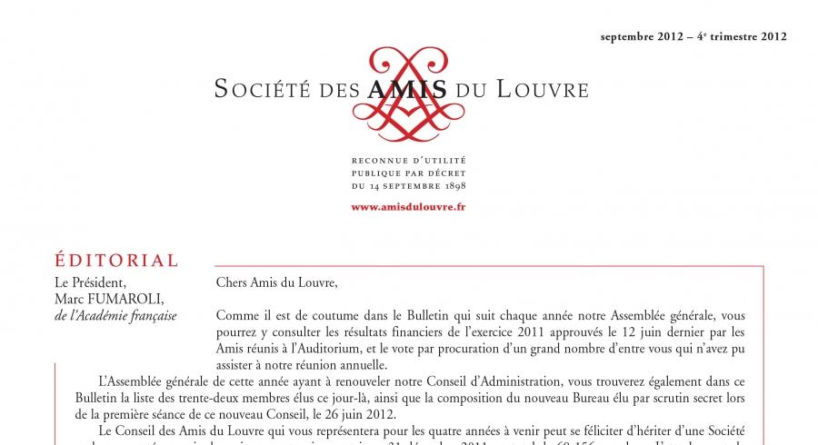 Bulletin trimestriel des Amis du Louvre du 4ème trimestre 2012