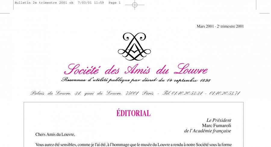 Bulletin trimestriel des Amis du Louvre du 2ème trimestre 2001