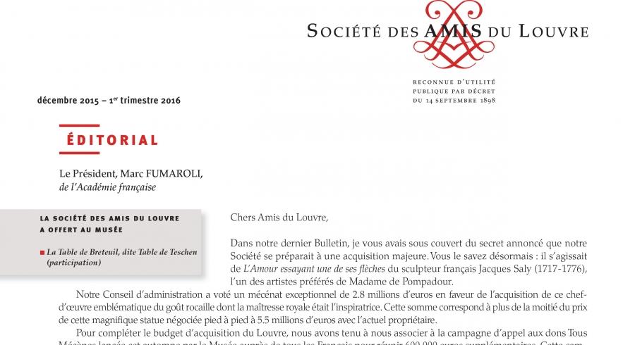 Bulletin trimestriel des Amis du Louvre du 1er trimestre 2016