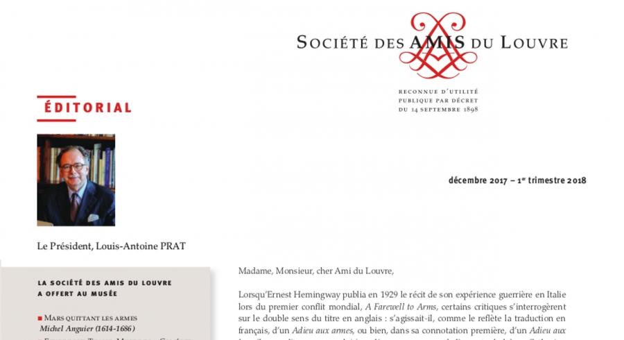 Bulletin trimestriel des Amis du Louvre du 1er trimestre 2018