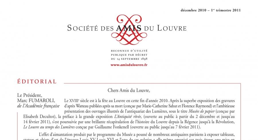 Bulletin trimestriel des Amis du Louvre du 1er trimestre 2011