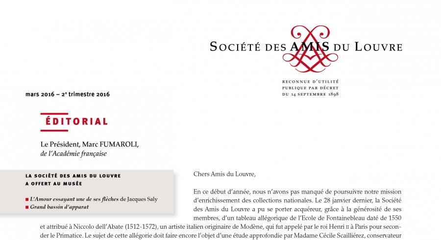 Bulletin trimestriel des Amis du Louvre du 2ème trimestre 2016