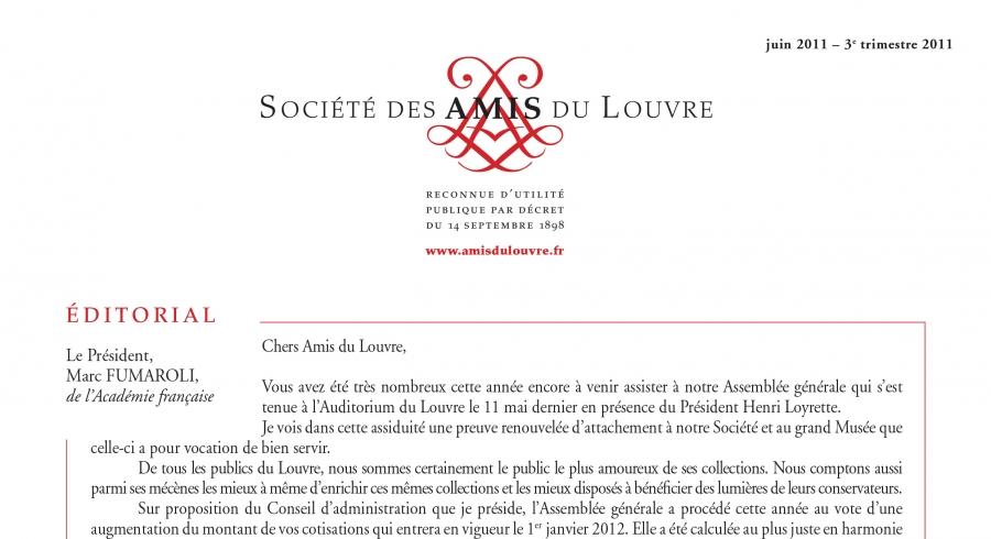 Bulletin trimestriel des Amis du Louvre du 3ème trimestre 2011