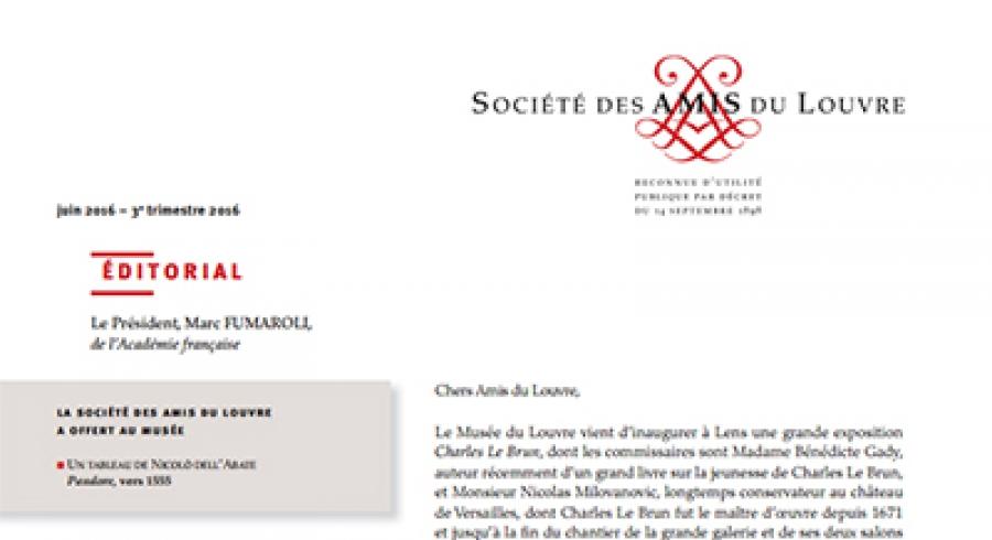 Bulletin trimestriel des Amis du Louvre du  3ème trimestre 2016