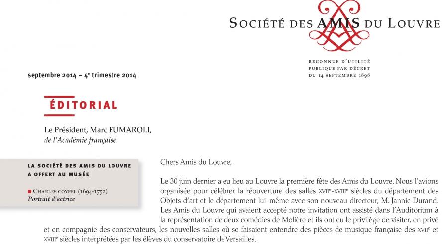 Bulletin trimestriel des Amis du Louvre du 4ème trimestre 2014