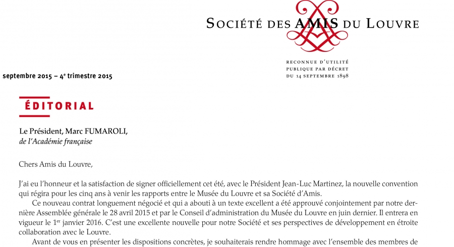 Bulletin trimestriel des Amis du Louvre du 4ème trimestre 2015