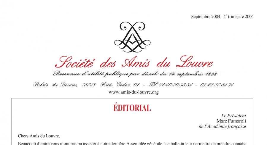 Bulletin trimestriel des Amis du Louvre du 4ème trimestre 2004