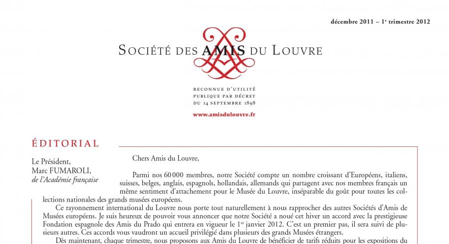 Bulletin trimestriel des Amis du Louvre du 1er trimestre 2012