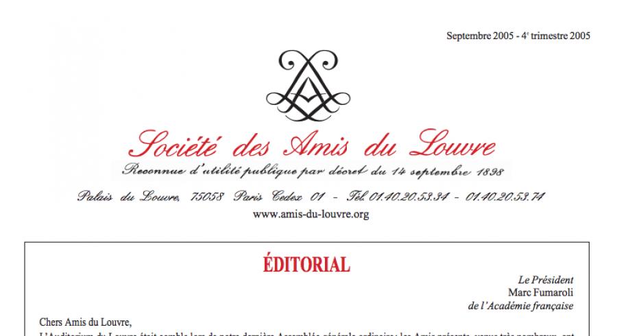 Bulletin trimestriel des Amis du Louvre du 4ème trimestre 2005