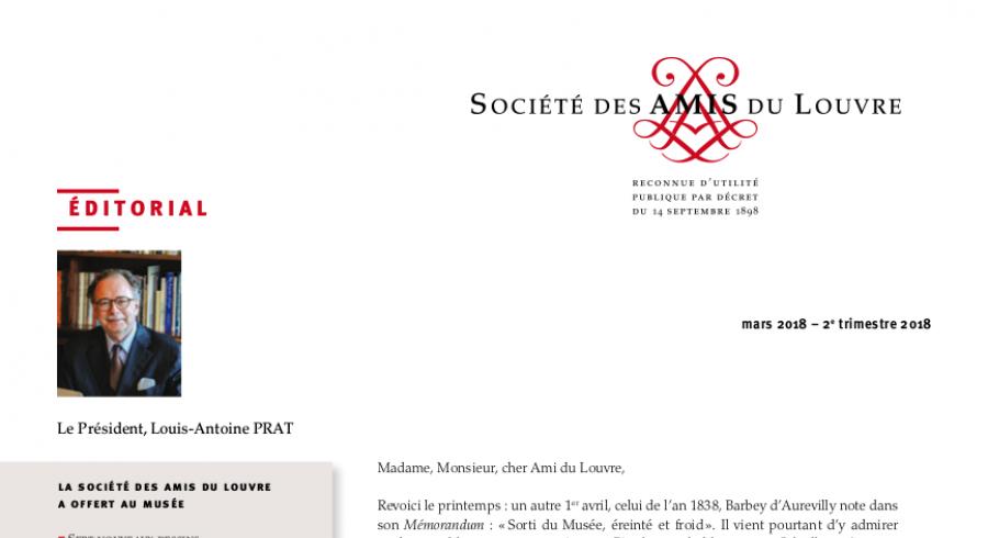 Bulletin trimestriel des Amis du Louvre du 2ème trimestre 2018