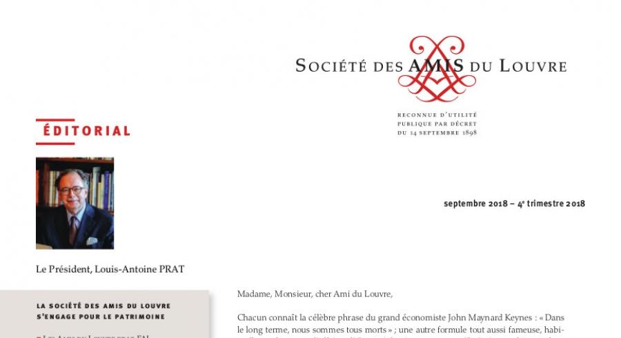 Bulletin trimestriel des Amis du Louvre du 4ème trimestre 2018