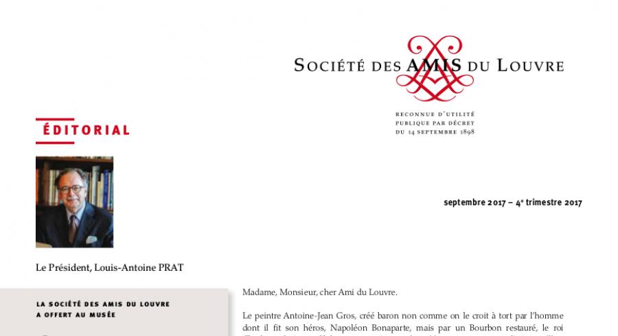 Bulletin trimestriel des Amis du Louvre du 4ème trimestre 2017