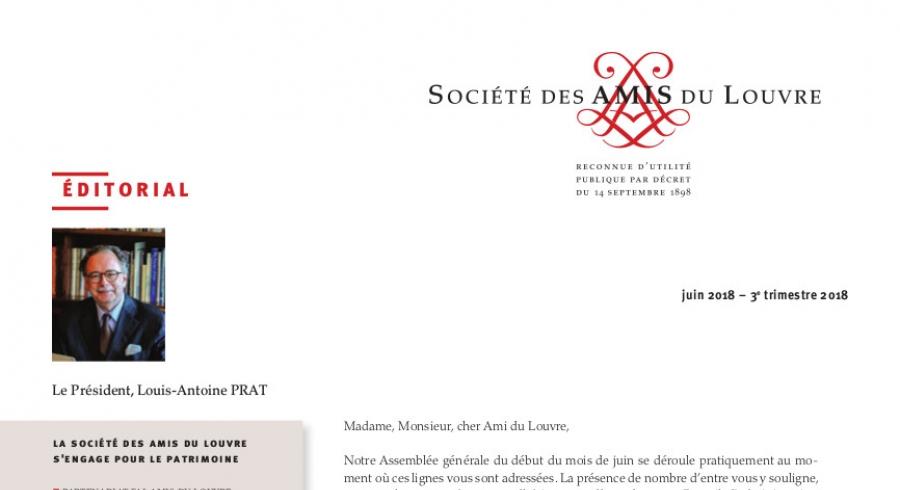 Bulletin trimestriel des Amis du Louvre du 3ème trimestre 2018