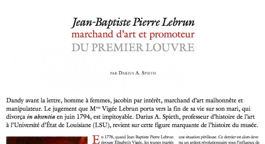 Jean-Baptiste Pierre Lebrun : marchand d'art et promoteur du premier Louvre