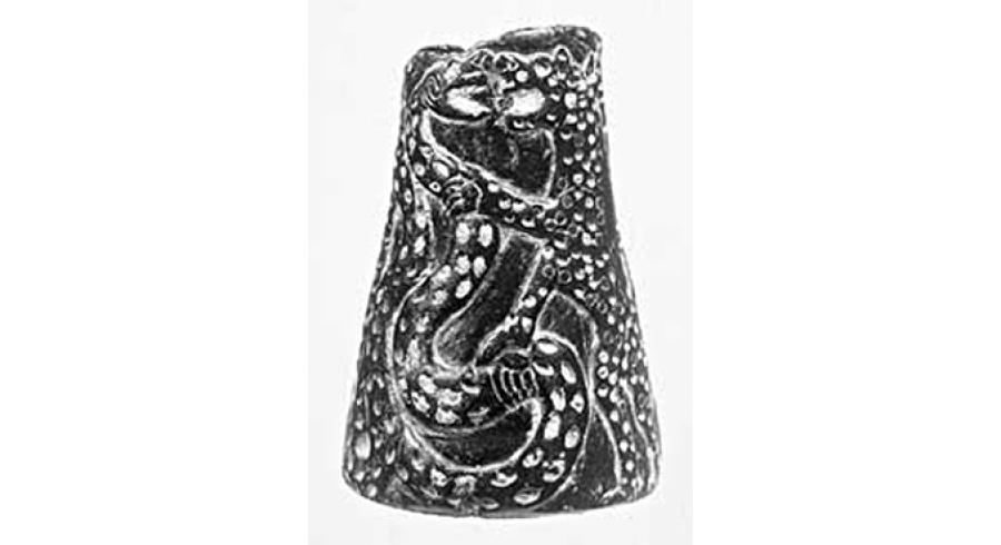 Vase orné d'un combat de fauves et de serpents